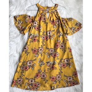 NWOT As U Wish Mustard Floral Dress
